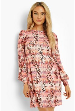 Stone beige Animal Print Puff Sleeve Shift Dress