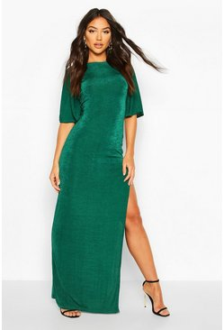 Bottle green green Flute Sleeve Acetate Slinky Maxi Dress