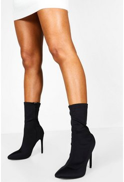 Black Pointed Toe Stiletto Heel Sock Boots