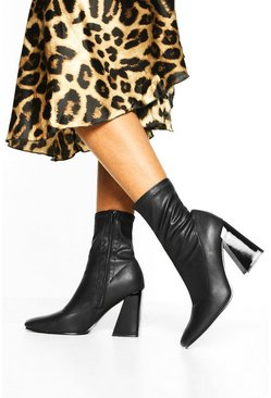 Black Flared Heel Sock Boots