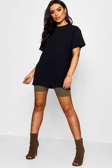 Black Round Neck Cotton Tee