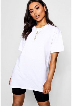 Round Neck Cotton Tee, White blanco