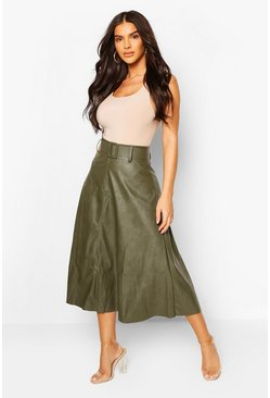 Khaki Leather Look Self Belt Skater Skirt