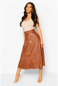 Tan Faux Leather Self Belt Skater Skirt