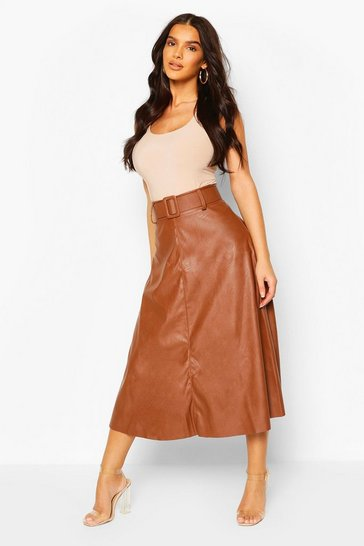 Tan brown Leather Look Self Belt Skater Skirt