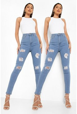 2 Pack High Rise Distressed Skinny Jeans, Multi multicolor