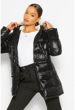 High Shine Faux Fur Trim Parka, Black nero