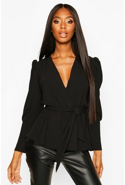 Black Puff Sleeve Wrap Blouse