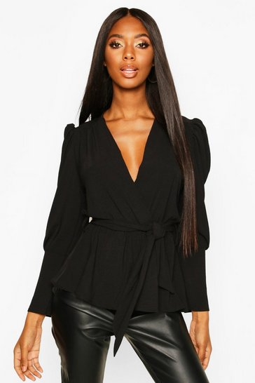 Black Puff Sleeve Wrap Blouse