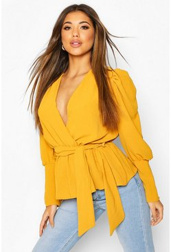 Mustard yellow Puff Sleeve Wrap Blouse