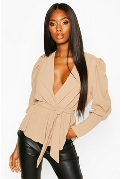 Stone beige Puff Sleeve Wrap Blouse