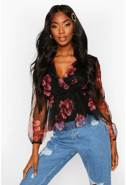 Black Floral Organza Wrap Top
