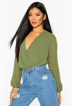 Khaki Woven Wrap Front Long Sleeve Top