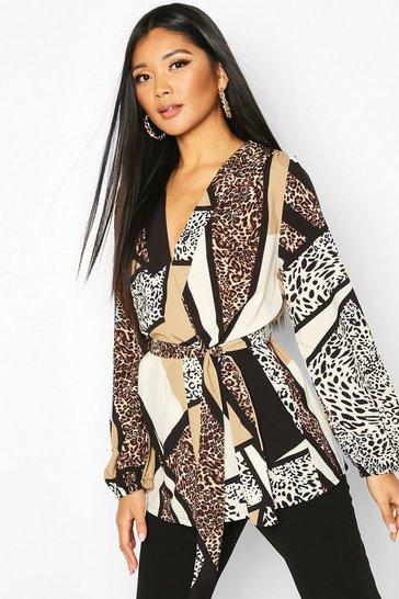 Natural beige Animal Print Wrap Blouse