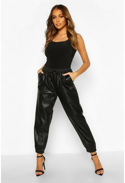 Black Faux Leather Seam Front Joggers