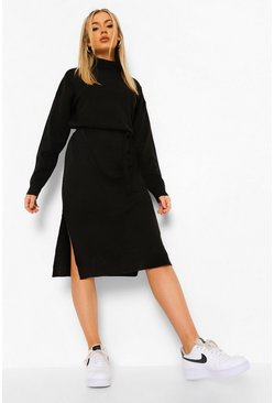 Black Fine Gauge Roll Neck Midaxi Jumper Dress
