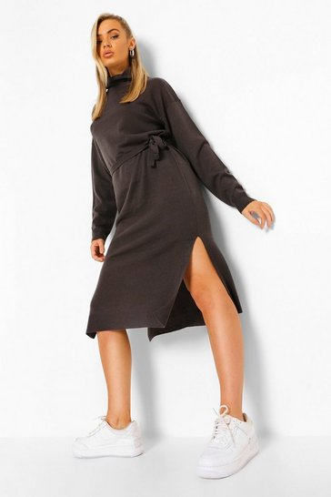 Grey Fine Gauge Roll Neck Midaxi Jumper Dress