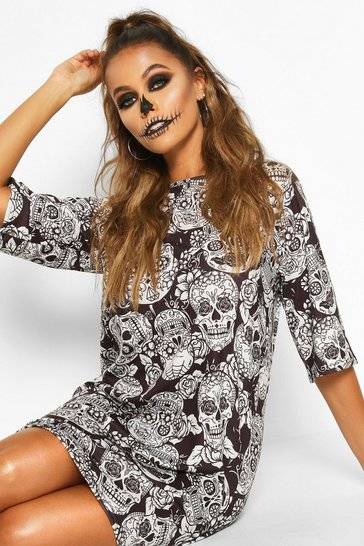 Black Halloween Floral Skull T-Shirt Dress