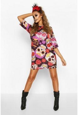 Black Halloween Sugar Skull T-Shirt Dress