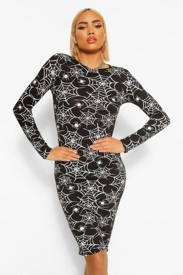 Black Halloween Cobweb Print Long Sleeve Midi Dress