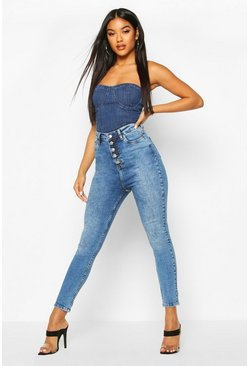 Button Front Slit Knee Skinny Jean, Mid blue
