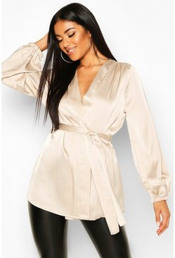 Champagne Satin Wrap Front Blouse