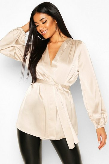 Champagne beige Beige Satin Wrap Front Blouse
