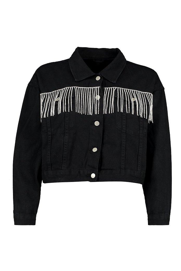 Jeansjacka med fransar bak | boohoo SE