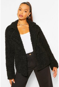 Black Double Breasted Faux Fur Teddy Coat