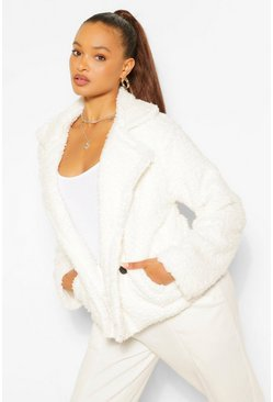 Cream white Double Breasted Faux Fur Teddy Coat