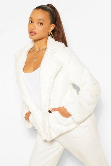 Cream Double Breasted Faux Fur Teddy Coat
