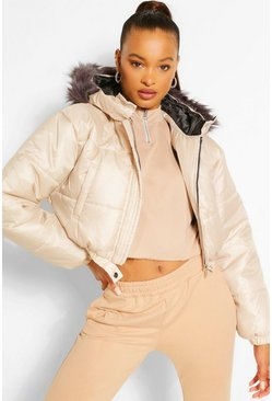 Stone beige Faux Fur Trim Crop Puffer Jacket