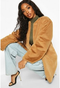 Camel beige Collarless Faux Fur Coat