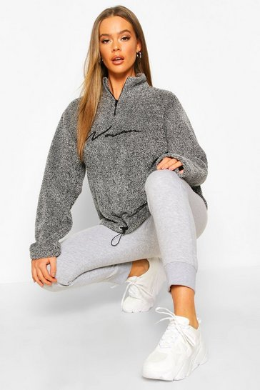 Charcoal grey Grey Half Zip Woman Embroidered Fleece Hoodie