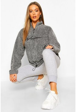 Charcoal Half Zip Woman Embroidered Fleece Hoodie