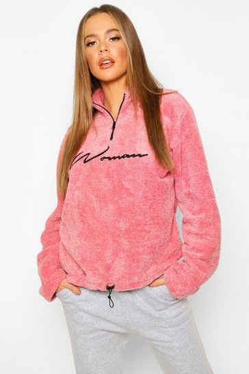 Pink Half Zip Woman Embroidered Fleece Hoodie