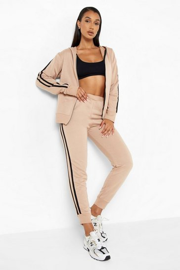 Sand Zip Sports Stripe Joggers Tracksuit Set