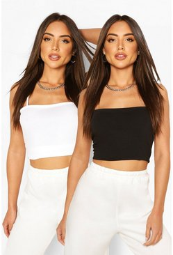 Blackwhite black Strappy Basic Vest Two Pack