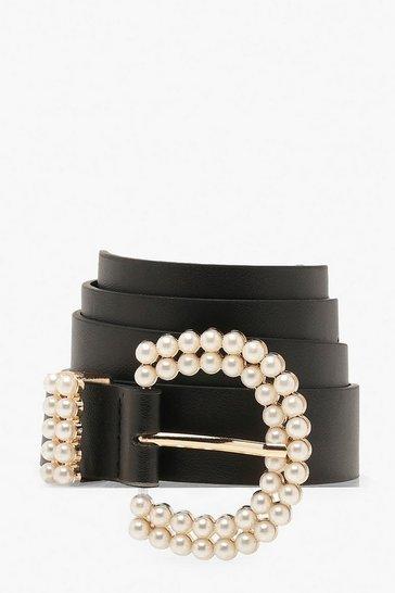 Black Pearl Buckle Detail Belt