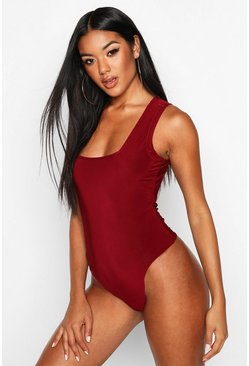Berry Slinky Square Neck Bodysuit