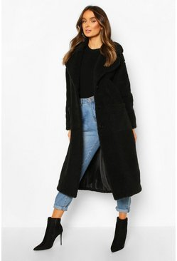 Black Longline Teddy Faux Fur Coat