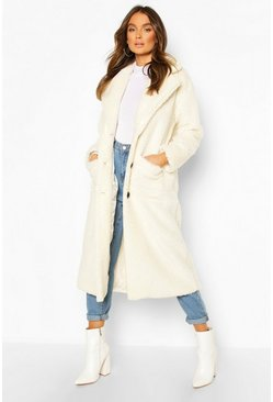 Cream white Longline Teddy Faux Fur Coat