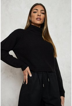Black Cropped Fisherman Roll Neck Jumper