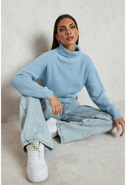 Pastel blue blue Cropped Fisherman Roll Neck Jumper
