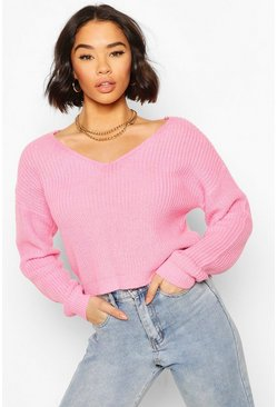 Baby pink pink Cropped Fisherman V Neck Jumper