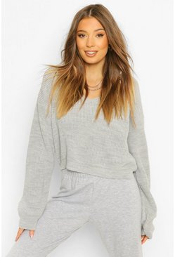 Grey Cropped Fisherman V Neck Sweater