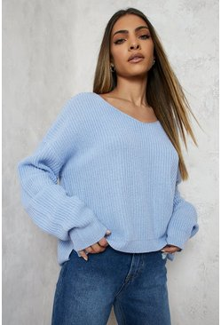 Pastel blue blue Cropped Fisherman V Neck Jumper
