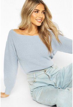 Pastel blue blue Slash Neck Crop Fisherman Jumper