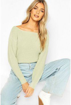 Sage green Slash Neck Crop Fisherman Sweater