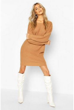 Toffee beige Slash Neck Fisherman Jumper Dress